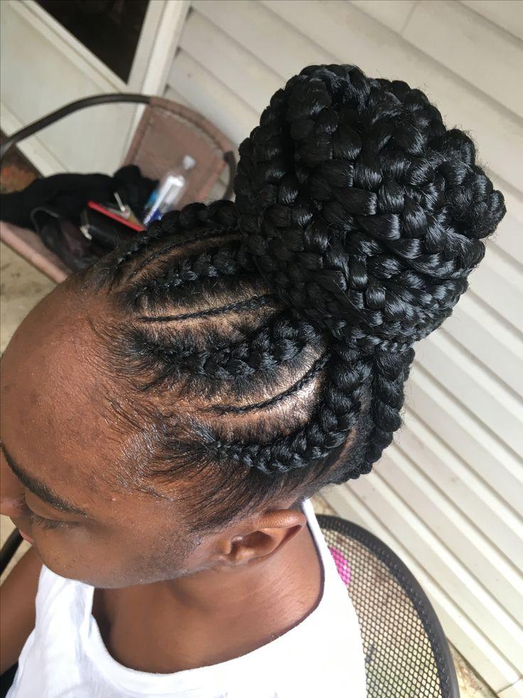 feed in braids updo