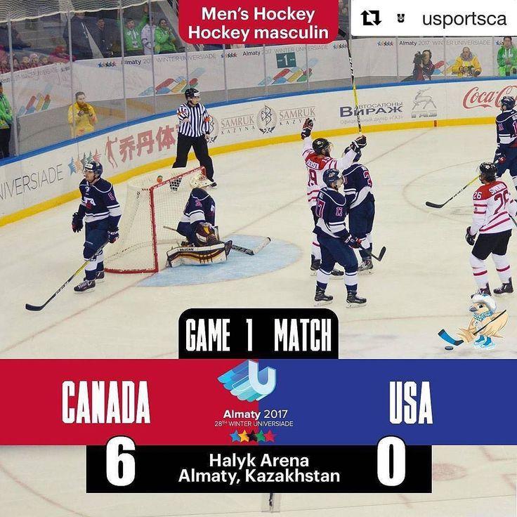 #Repost @usportsca  Canadian men's hockey  kick off  tournament with 6-0 win over USA. / L'équipe de hockey masculine défait les États-Unis pour bien commencer leur tournoi. #almaty2017wu #equipecanada2017uh #teamcanada2017wu