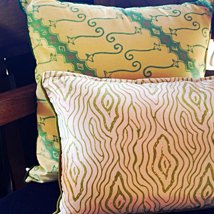 Lime green and Olive green Cushions.