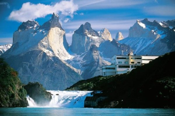 Hotel Salto Chico amidst the mountains in in the heart of the amazing Torres del Paine National Park in central Patagonia, Chile