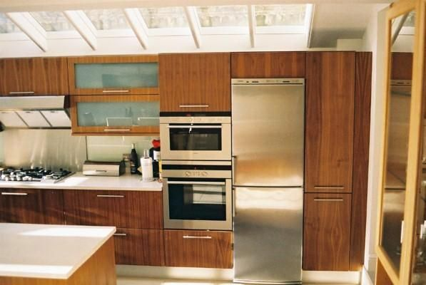 tall units & appliances - walnut designer fitted kitchen units & island in side return