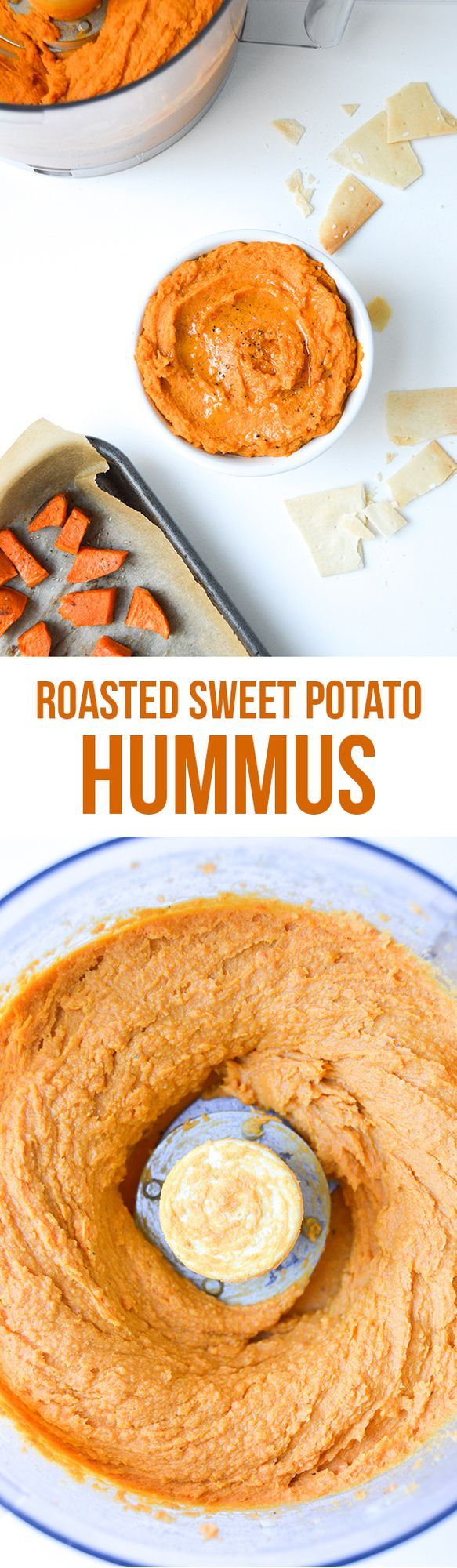 This roasted sweet potato hummus recipe was originally posted to the blog in 2013, but was deserving of new photography so I'm re-publishing it today with new text and pictures. I eat it with pita chi