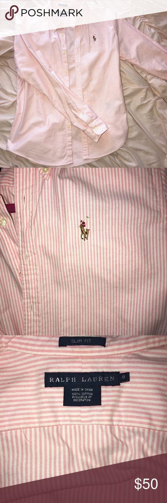 Women's Ralph Lauren Oxford Shirt Slim fit size 8 shirt. Only worn once. Ralph Lauren Tops Button Down Shirts