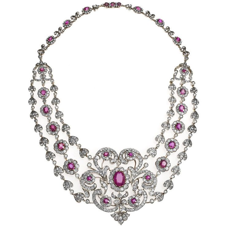 Important Antique Ruby Diamond Necklace