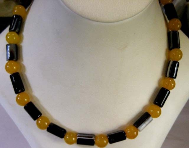 CYLINDER N YELLO AGATE NECKLACE  BEAD STRAND   11 149  NATURAL YELLOW AGATE  NECKLACE FROM GEMROCKAUCTIONS.COM