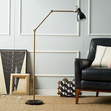 Industrial Task Floor Lamp - Black + Brass #westelm