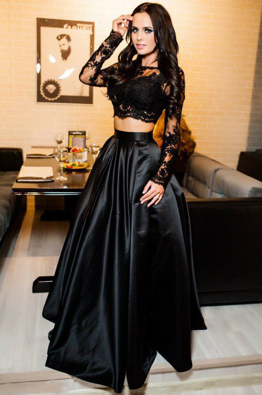 f23be30f00e Two Piece A-Line Bateau Long Sleeves Black Floor Length Prom/Evening Dress  With Lace