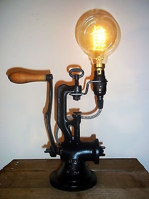 UpCycled Antique/Vintage Cast Iron Mincer Industrial/Steampunk Table Lamp Black