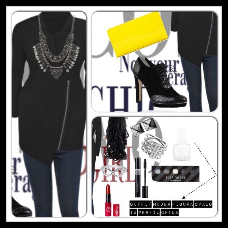 Outfit con las siguientes consignas:  Mujer de 35 años. Morfología (forma de cuerpo) Ovalo. Colorimetria (colores que mas te favorecen cerca del rostro) Frío-Invierno-Intenso.