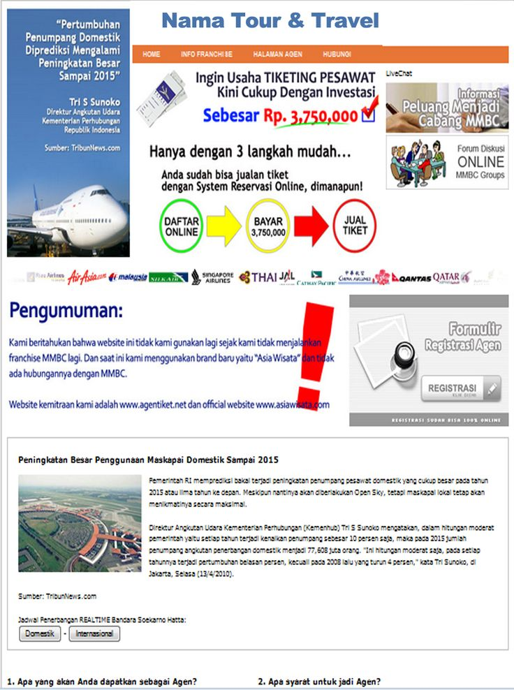 Jasa Pembuatan Website Agen Travel dan Tour