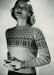 Frosty Fair Isle Ski Sweater- fair isle classic from 1951. Feminine shaping which looks great with trousers or skirt. Free pattern.