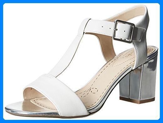 Clarks Smart Deva, Damen Knöchelriemchen Sandalen, Weiß (White/Silver Leather), 40 EU (6.5 Damen UK) - Sandalen für frauen (*Partner-Link)