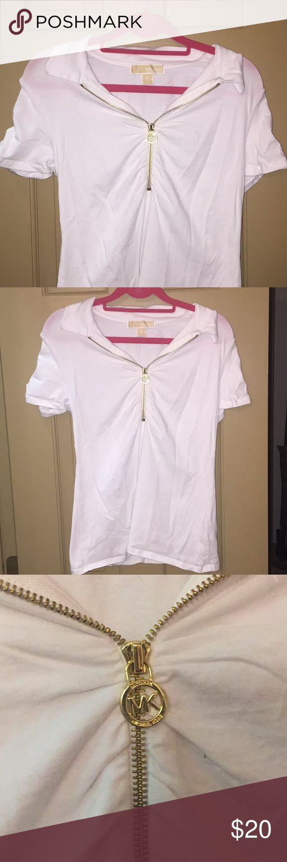 Michael Kors Zip Up Gold Accented White Tshirt Only worn once! Very cute if you're trying to dress up your outfit a little more. Michael Kors Tops Tees - Short Sleeve