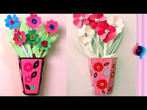 Wall hanging paper made flower vase & Wall hanging paper made flower vase | Craft Ana | Hanging flower ...