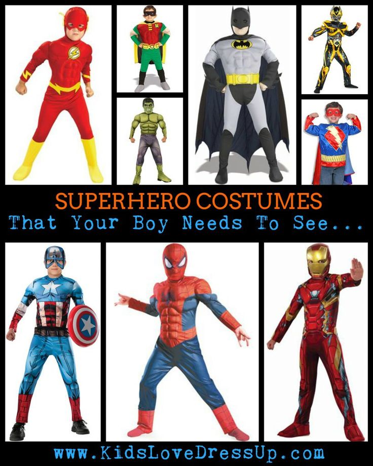 Superhero Costumes For Boys - the superhero dress up clothes for boys that your son needs to see before making his choice for Halloween!  Superhero Dress Up For Boys! Looking for some great superhero costumes for boys? Look no further - we've got you covered. Kidslovedressup.com will show you which superhero costumes are the BEST! Superman costume, batman costume, the hulk costume, Robin costume, Spiderman costume, Captain America Costume, The Flash Costume, Superman Costume, Ironman…