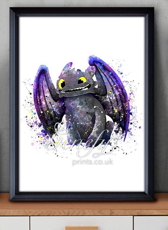 How To Train Your Dragon, Toothless, Night Fury, Watercolor Poster Print - Watercolor Painting - Watercolor Art - Kids Decor- Nursery Decor