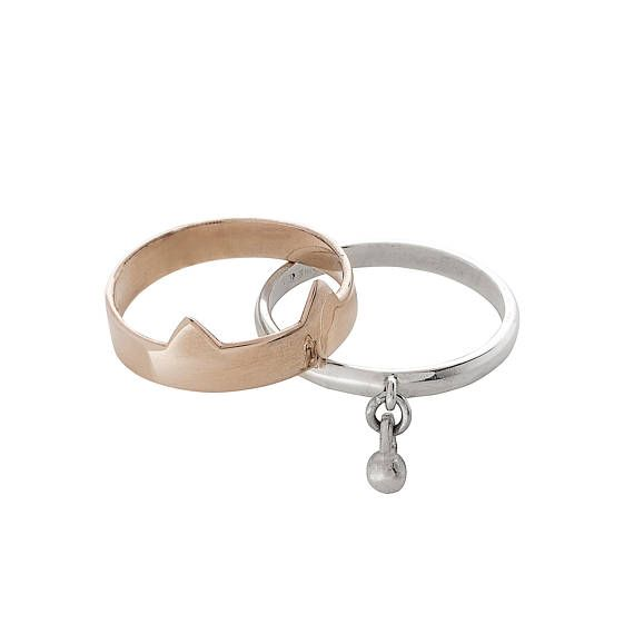 Silver Double Kitty Ring With Bell  Rose Gold