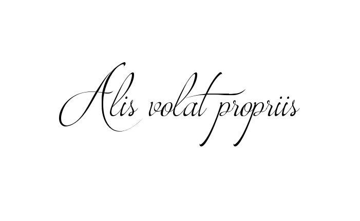 Tatuagem do nome Alis volat propriis utilizando o estilo Brotherhood Script Regular