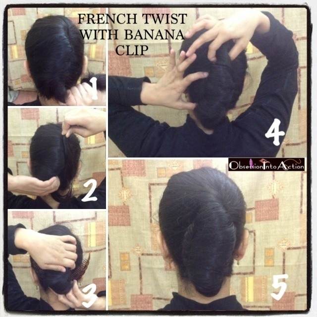 French Twist with banana clip  http://obsessionintoaction.blogspot.com/2013/01/french-twist-using-banana-clip-2.html