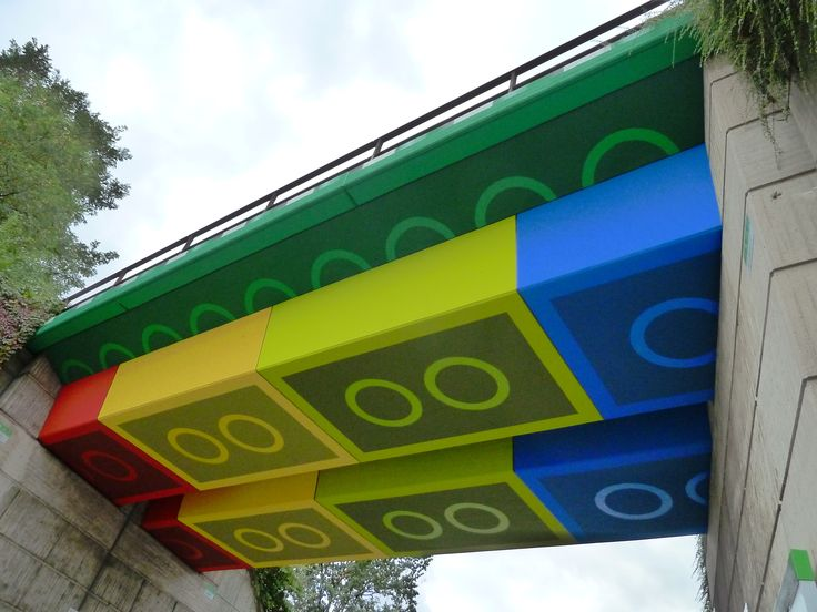 The Lego-Brücke is a concrete beam bridge which crosses over the Schwesterstraße in the North Rhine-Westphalian city of Wuppertal, Germany. In 2011, graffiti and street artist Martin Heuwold repainted the bridge in the style of Lego bricks.