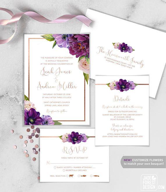 best 25 purple wedding invitations ideas on pinterest purple invitations printable save the. Black Bedroom Furniture Sets. Home Design Ideas