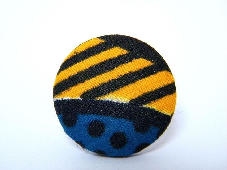 Bague fantaisie ajustable - tissu et laiton argenté - bleu, noir, rouge, jaune - : Bague par mes-creations-plaisir