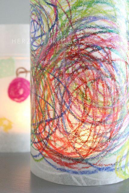Tischlaternen by herz-allerliebst, via Flickr (paper lanterns made with baking paper)