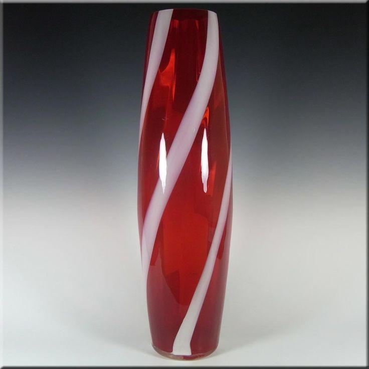 Alrose Massive Italian Empoli Red & White Glass Vase - £129.99