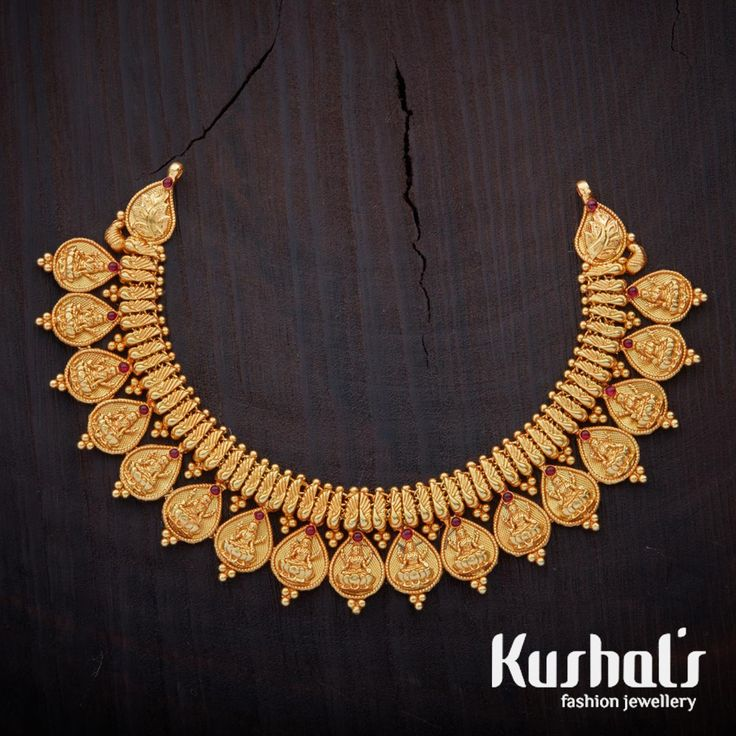 South Indian Traditional Silver Temple Jewellery Kasmala Necklace, Studded with spinal stones made in Pure Silver.