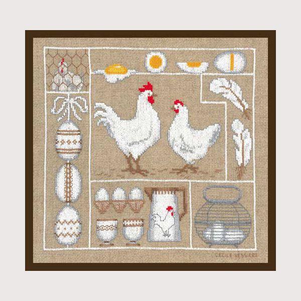 kit de broderie au point de croix points comptés : animaux poules et oeufs