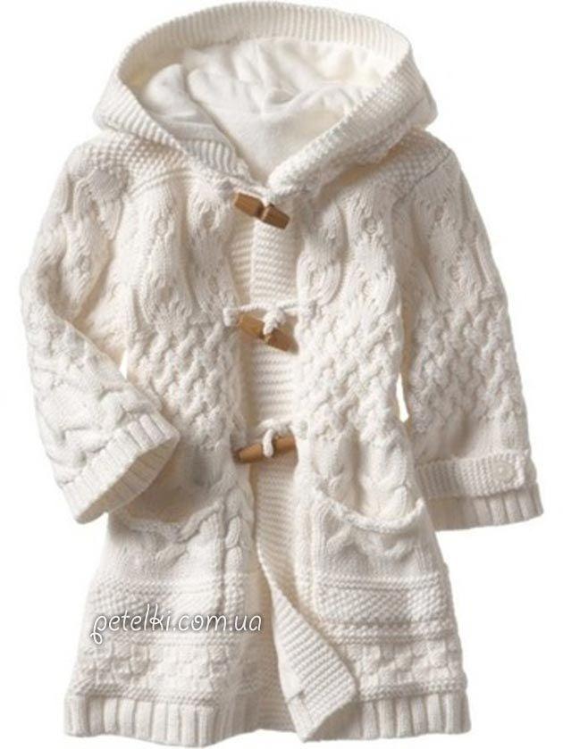 Шикарное белое пальто для девочки спицами. Описание вязания, схемы