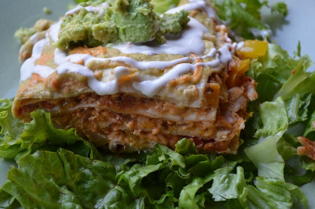 Enchilada Lasagna with Homemade Enchilada Sauce (Gluten and Dairy Free)