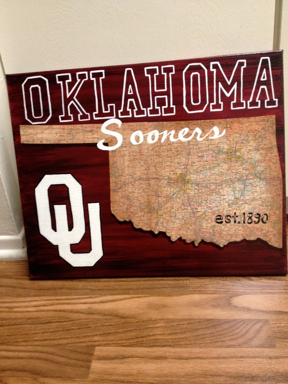 Oklahoma University Sooners map painting by nicciwd40 on Etsy, $75.00