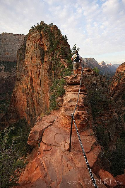 Angels Landing in Zion National Park, Utah.  Ha!  I climbed this monster on May 26th, 2013.  It. Was. Hell.  It almost killed us but we made it all 1,488 feet to the top by using these chains...what an amazing feeling of accomplishment!    ~KK