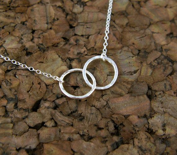 Hammered interlocking circles necklace in by jersey608jewelry, $28.00--15 inch