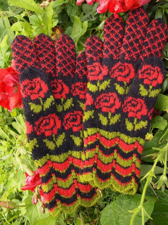 Finely Hand Knitted Seto (Estonian) Gloves in Siberian style on Black ORDERS ONLY