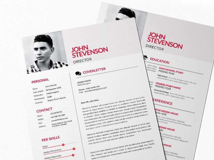 Free red style resume template in 2020 resume template