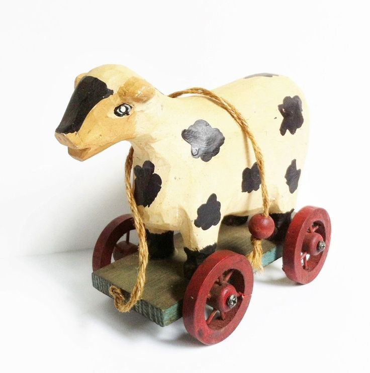 Cow Pulling Wagon : Carved cow pull toy wood wagon wheels primitive rustic