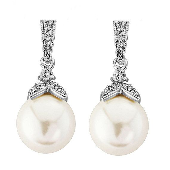 Hochzeit Ohrringe Zirkonia Perlen Ohrringe Vintage von PearlyBrides