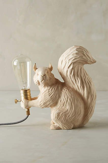 Seated Squirrel Handcarved Woodlore Lamp
