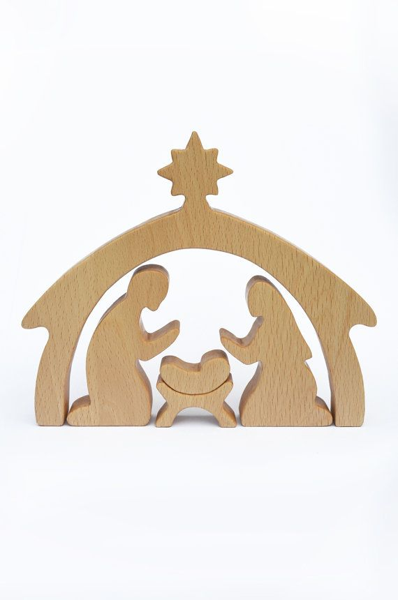 Wood Nativity Scene 5 figures Nativity Set Christmas gift for mother Wooden puzzle Christmas decor Holiday decor Baby Jesus Creche Toy