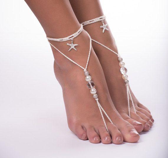 Beaded barefoot sandals/Crochet barefoot sandals/Beach wedding/Bridal Footless shoes/Starfish Barefoot Sandals