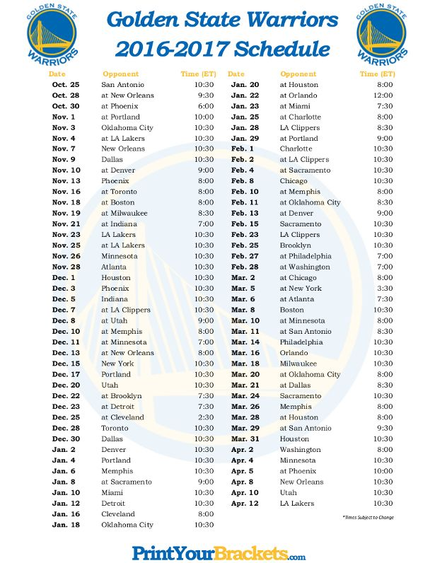 Printable Golden State Warriors Basketball Schedule 2016 - 2017