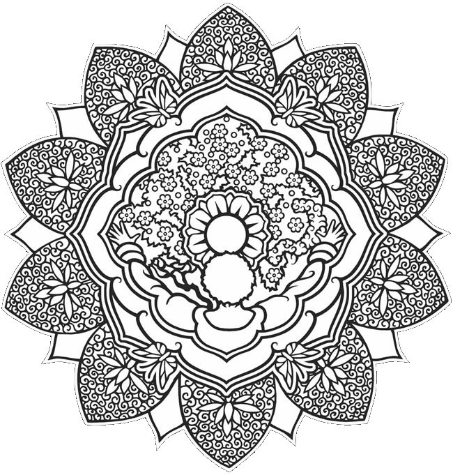 mandala abstract art coloring pages printable - Free Coloring For Adults