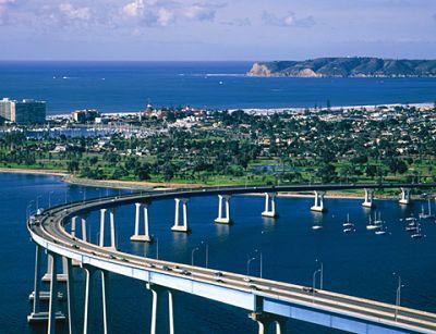 Coronado Bay Bridge and San Diego, CA