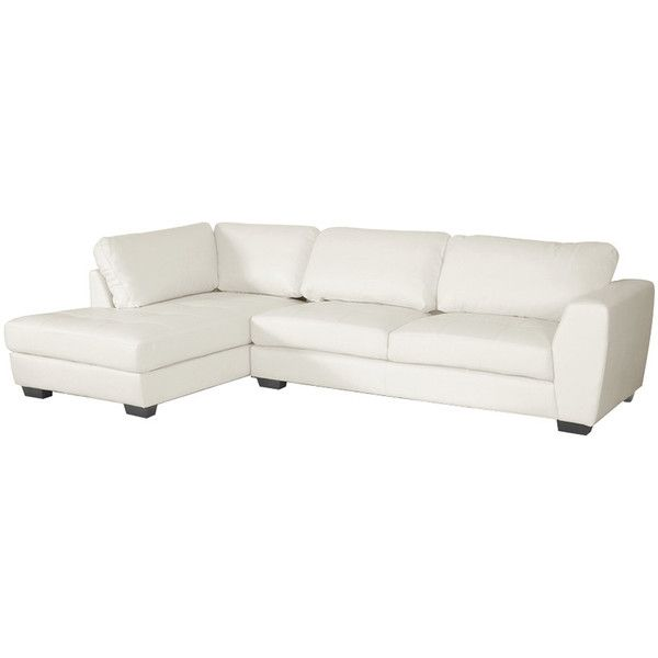 Dot & Bo 2-Pc. Lovell Leather Sectional Sofa Set in White ($999) ❤ liked on Polyvore featuring home, furniture, sofas, white couch, leather couch, leather sectional, white chaise y white leather couch