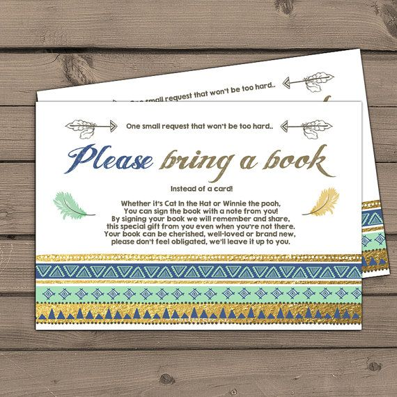 Tribal Baby shower Bring a book card Aztec by Anietillustration