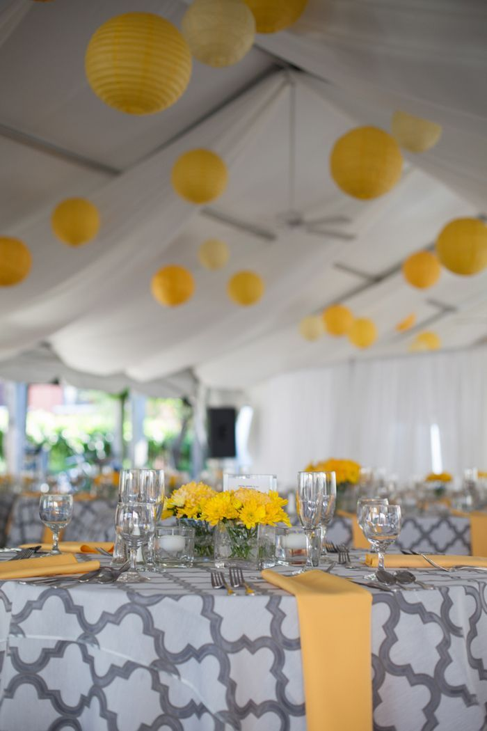Gray and yellow wedding decorations.  http://www.mandypaige.com/