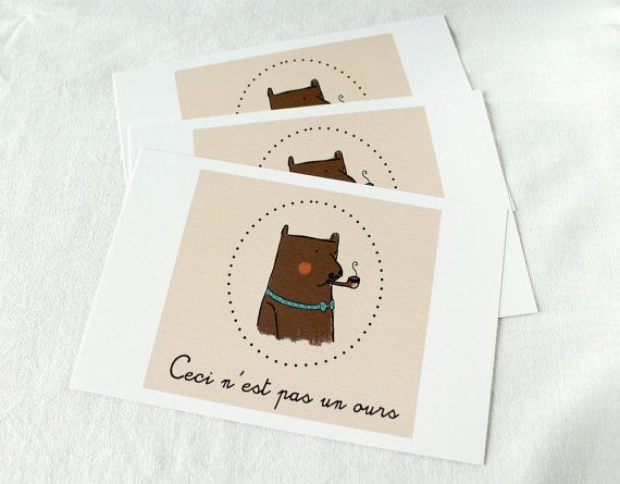 Bear illustration postcards set of three by LaDouceurDuMiel