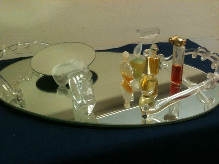 Acrylic Handled Vanity Mirror Tray, Make-up Tray, Dresser Organizer, Bathroom Accessory, Footed 2 Handled Mid-Century Modern Decorative Tray by MaxinesOldToNew on Etsy https://www.etsy.com/listing/240041343/acrylic-handled-vanity-mirror-tray-make
